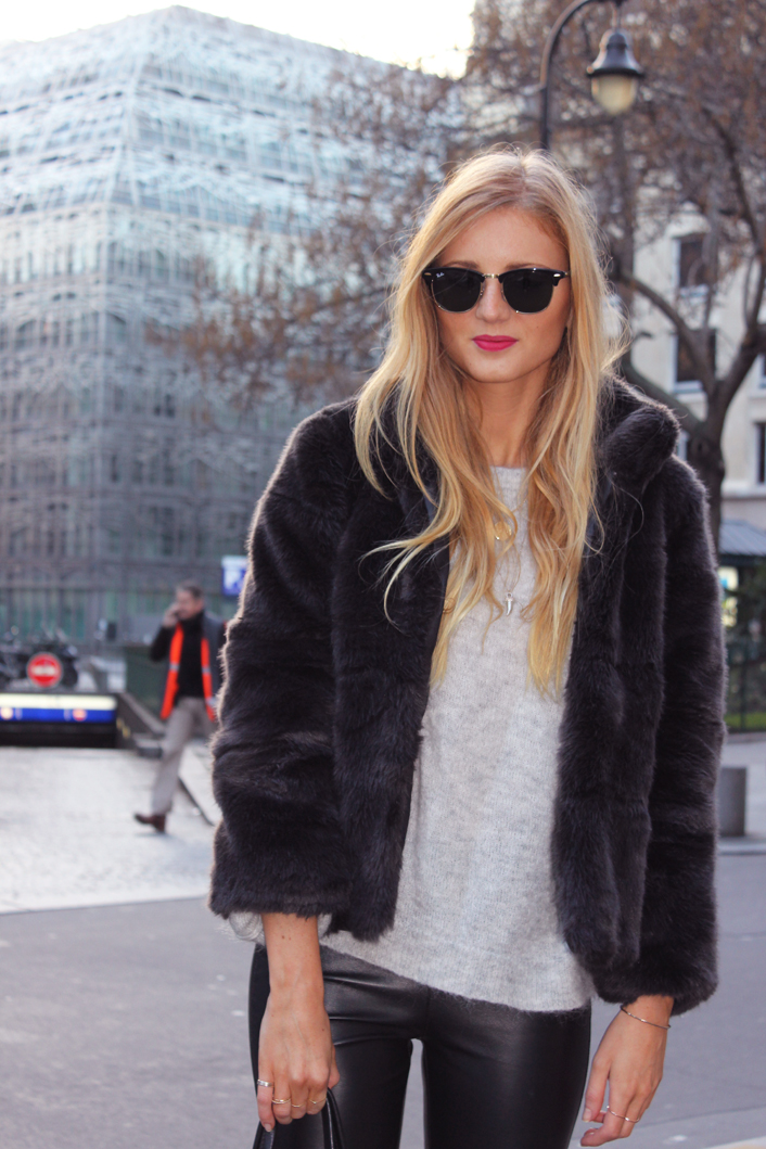 Faux fur look outfit