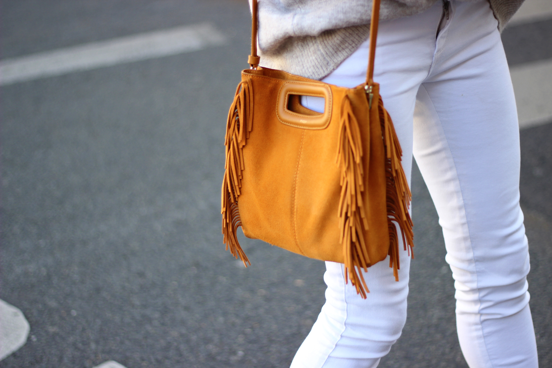 Sac Maje M Look mode Paris blog jean blanc pull oversize tendance