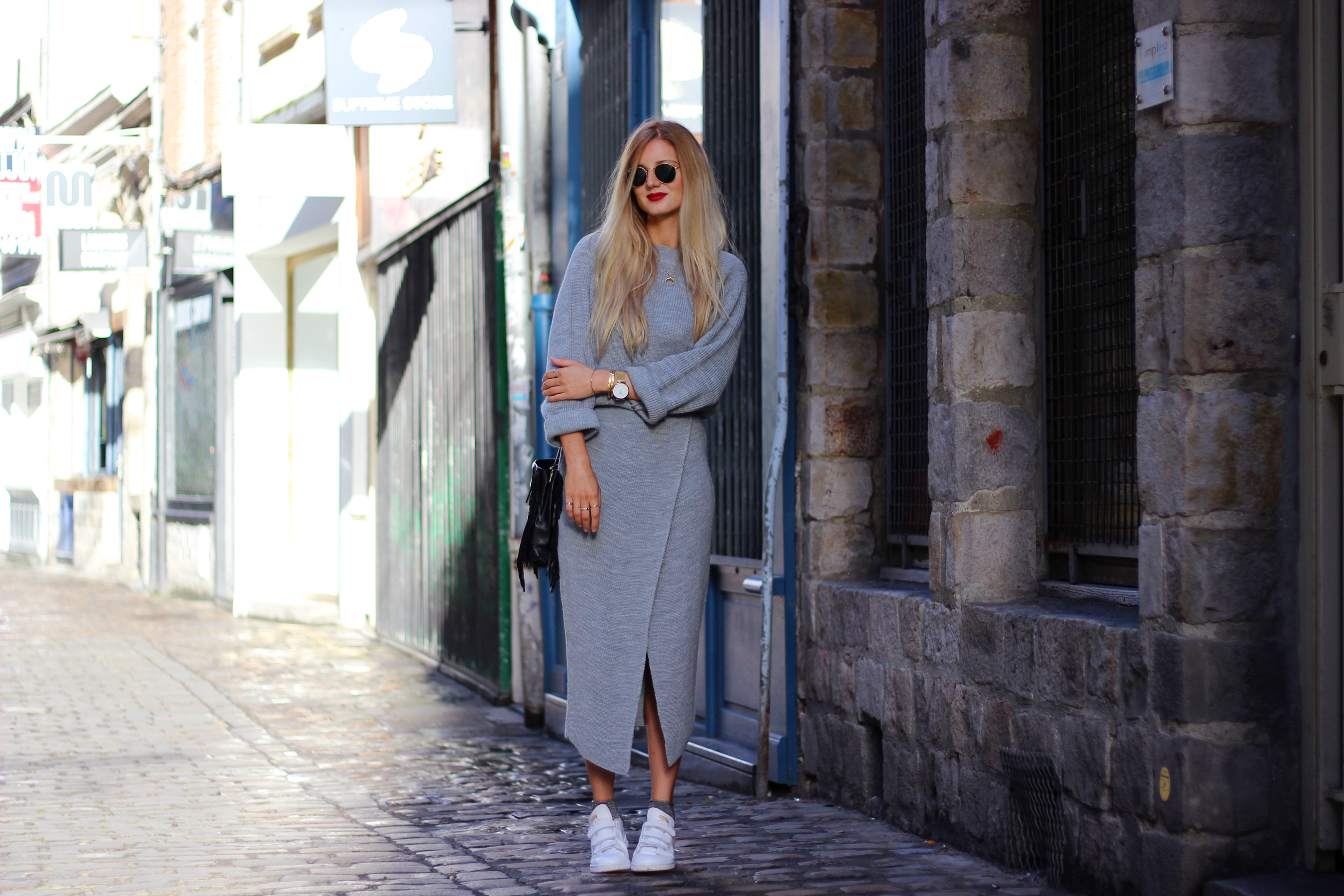 Blog mode Lille look fashion Asos streetstyle pull jupe maille